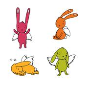 Set of cute rabbits with wings Stock Illustration