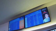 Arrival And Departure Signs Boards - Long Beach CA Airport Stock Footage