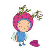 Forest Fairy with heart Stock Illustration