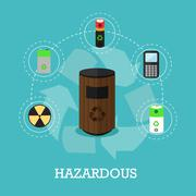 Garbage recycle concept vector illustration in flat style. Hazardous waste Stock Illustration