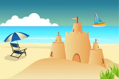 Sea beach background with chair umbrella  and fort Stock Illustration