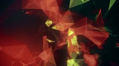 Abstract, moving polygons in various colors on dark Stock Footage