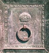 Detail of the circular door knocker of a iron gate. Stock Photos