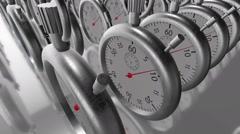 Moving rows with stopwatches,chronometers in silver color Stock Footage