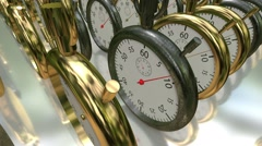 Moving rows with stopwatches,chronometers in golden and metal color Stock Footage