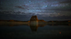 Astro Time Lapse of Stars over Lone Rock at Lake Powell, Utah -Tilt Up- Stock Footage