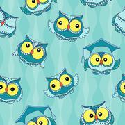 Amusing blue owls seamless pattern - stock illustration