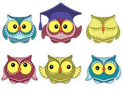 Six amusing colorful owls Stock Illustration