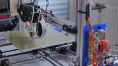 3D printer with CNC control. Printing design prototype Stock Footage