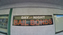 Close Up Bail Bonds Business Sign On Window Burbank CA Stock Footage
