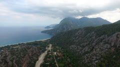 4K Aerial View of Olympos Mountain, Clouds and Sea. Captured in Antalya Turkey Stock Footage