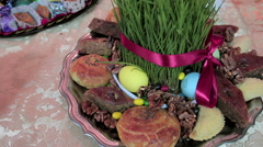 Novruz sweets, nuts, spring holiday Stock Footage