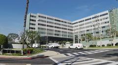 Long Beach Memorial Hospital Wide Shot Pan- Long Beach CA Stock Footage