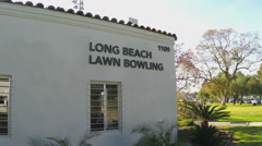 Long Beach Lawn Bowling Sign And Building - Long Beac CA - stock footage