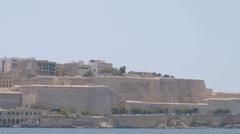 Panorama of Valletta's ramparts from far Stock Footage
