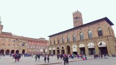 Piazza Maggiore with Accursio Palace and Palazzo del Podesta Stock Footage