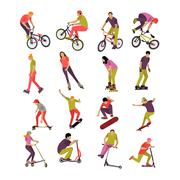 Vector set of people on bicycle, skateboard, rollers and scooter. Sport design Stock Illustration