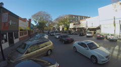 High Angle Cars Traffic - Burbank CA Street Shopping District Stock Footage