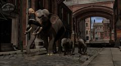 Elephants On The Old World Streets of London - stock illustration