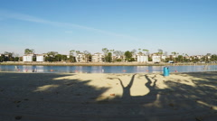 Pan Shot Mothers Beach At Marine Park - Long Beach CA Stock Footage