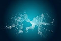 Abstract Ice-Hockey players in action. Crystal ice effect - stock illustration