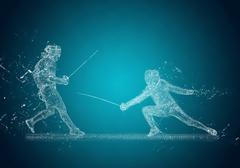 Abstract Sabre Fencers. Crystal ice effect - stock illustration