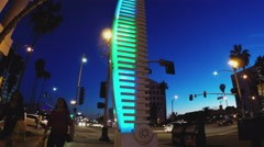 Tilt Up Of Colorful Light Fixture Sculpture - Downtown Long Beach CA Stock Footage