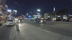 Boulevard Or Street View Row Of Shops At Night - Glendale CA - stock footage