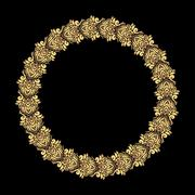 Round vector golden heavy thick frame on a dark background for your design. - stock illustration