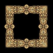 Square vector golden heavy thick frame on a black background for your design. - stock illustration