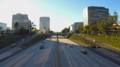 High Angle Highway 134 And Traffic Glendale California Stock Footage