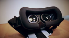 Camera moves slow around virtual reality glasses Stock Footage