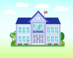 School and education. Buildings for city construction. Set of elements to create Stock Illustration