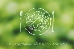 Plate with vegetarian meal and healthy greens Stock Illustration