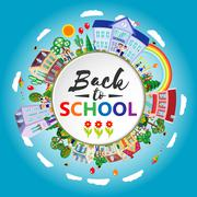 Decorative kids back to school round emblem poster. Flat. Vector illustration Stock Illustration