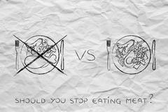 Meat plate crossed out next to alternative vegetarian option Stock Illustration