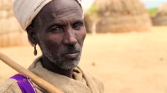 Portrait Style Close Up of Ethiopian Tribal Man Stock Footage