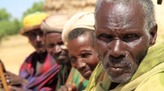 Portrait Style Close Up of Ethiopian Tribal Elders Stock Footage
