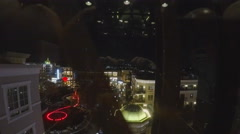 Point Of View Riding Down On Glass Elevator At Night Stock Footage