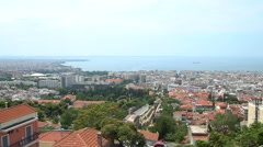 Overlooking view of Thessaloniki, Greece Stock Footage