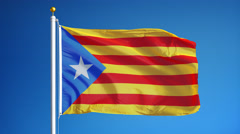 Estelada blava flag in slow motion looped with alpha Stock Footage