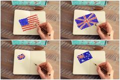 Photo collage with United States, Australia and United Kingdom flags - stock photo