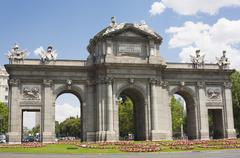 Puerta de Alcala in Madrid in a beautiful summer day Stock Photos