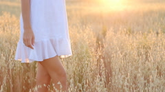 Beauty Smiling Girl on the Gold Field. Laughing And Happy young model woman Stock Footage