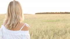 Elegant Country Female Beauty Dress Walking Field Stock Footage