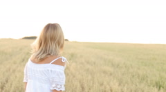 Elegant Country Female Beauty Dress Walking Field Stock Footage