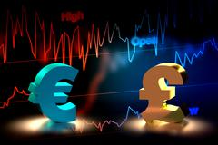 Euro and British Pound Currency Exchange, 3D Rendering Stock Illustration