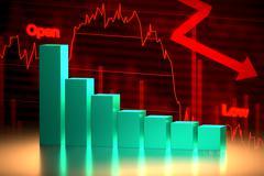 Bear Stock Market Chart, 3D Rendering Piirros