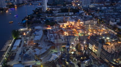 4K : Day to night, Construction site, Time lapse Stock Footage