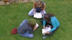 Overhead of three teenage girls reading books on the green grass in slowmo Stock Footage
